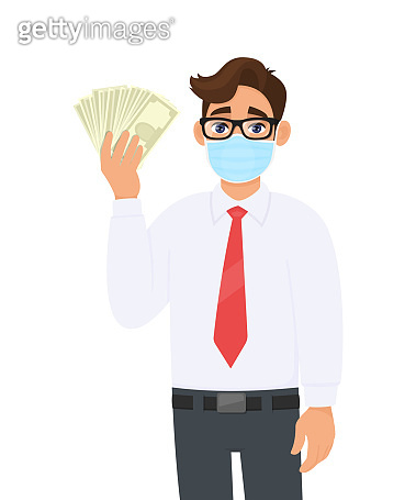 Young business man wearing medical mask and showing cash, money. Person in eye glasses holding currency notes. Healthy lifestyle concept. Male character illustration design in vector cartoon style.