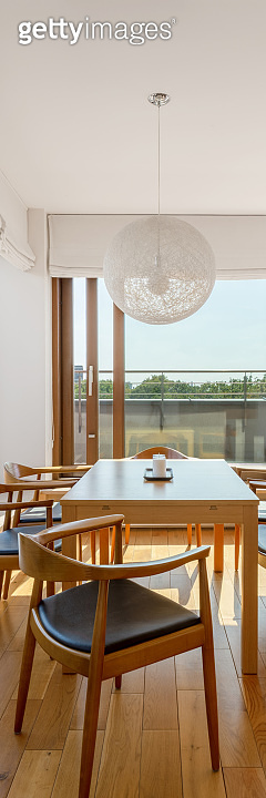 Elegant dining area, vertical panorama