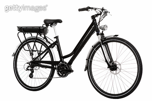 side view of an electric urban bicycle on an isolated white background in studio
