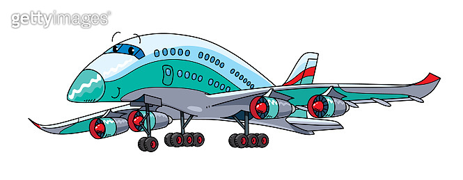 Funny airliner plane with eyes vector illustration