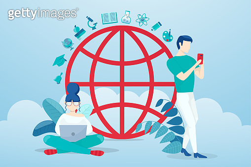 Vector of young people using mobile devices browsing internet