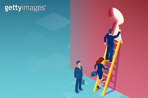 Business solution, opportunity, strategy and success concept. Vector of businessmen and businesswoman climbing up a ladder to escape through a door keyhole.