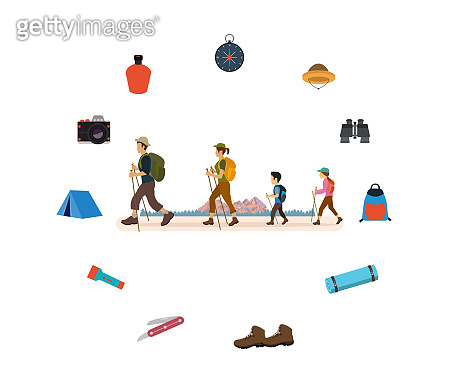 Vector of a young family man,woman and children hiking outdoors using trekking gear