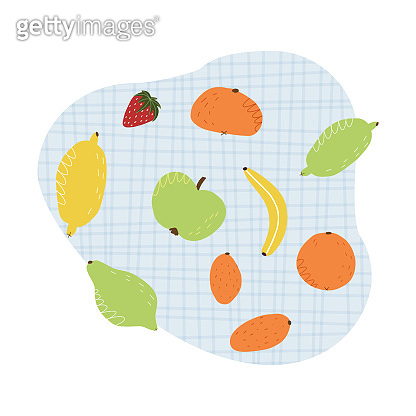 A cute set of various fruits on a blue tartan tablecloth. Hand-drawn citrus such as lemon, lime, tangerine, kumquat, orange, apple, banana and strawberry. Vector isolated illustration.