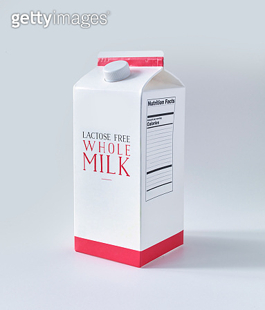 Milk carton box on white background