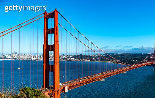 Golden Gate Bridge San Francisco California Red Metal and Blue Skies
