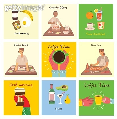 Set of cards with food, coffee, breakfast, pizza, sushi, cake and with hand written text, simple flat colorful vector illustration