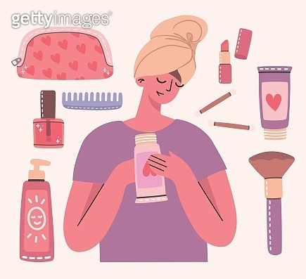 Collage of cosmetics and body care products for make up around girl with towel.