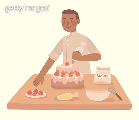 Young man cooking at a kitchen homemade cake with at home. Vector modern illustration in flat style.