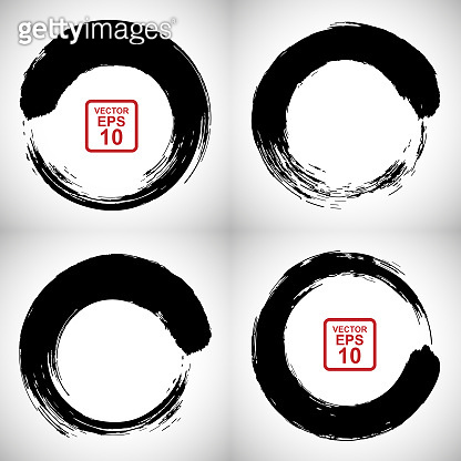 Vector set of circles drawn with a brush in the style of Chinese or Japanese painting. A design element, a smear of black paint.