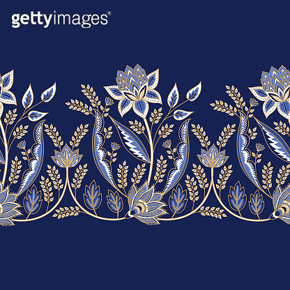 Indian floral paisley pattern vector seamless border. Persian arabesque medallion motif