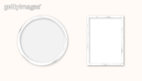 Realistic set white wood picture frame isolated on white background. Frame for your presentations.