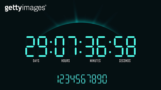 Digital clock with countdown on sunrise background. Layout of numbers for website design and promotion.