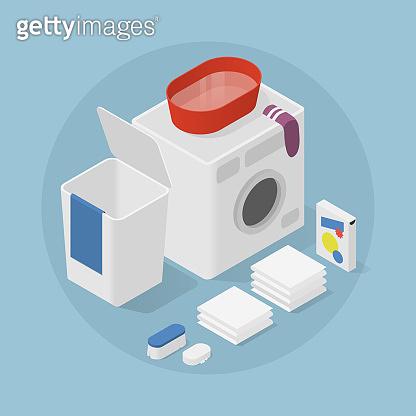Isometric Home Laundry Illustration