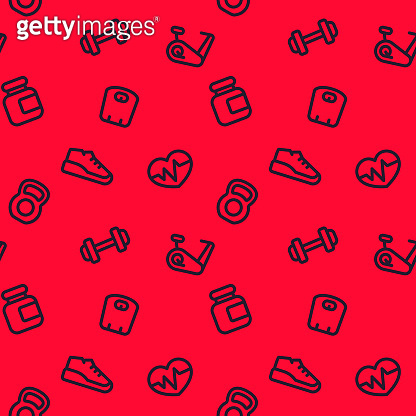 fitness pattern, seamless red background with linear gym icons