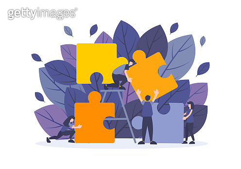 Business flat illustration with people work with big puzzle elements. Concept of problem solving, strategy, teamwork, partnership, connect, challenge and management solution.
