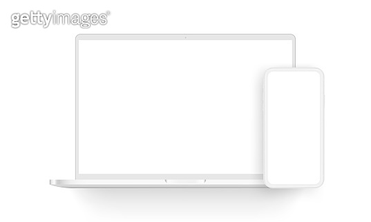 Clay laptop computer and mobile phone isolated on white background