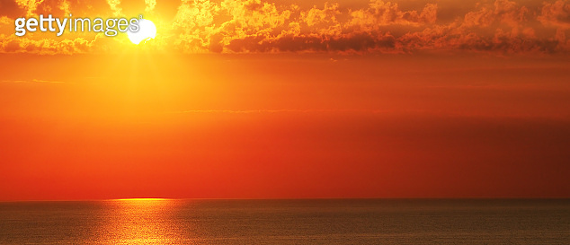 Bright sunset over the sea.