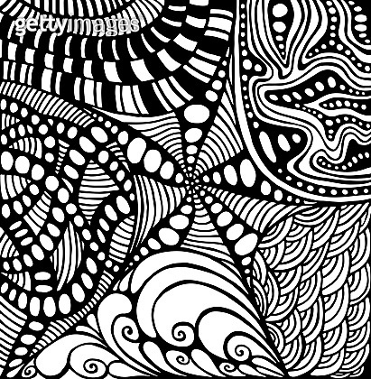 Coloring page doodle style abstract pattern, maze of ornaments.