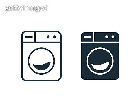 Washer Machine Laundry Icon Vector Logo Template Illustration Design