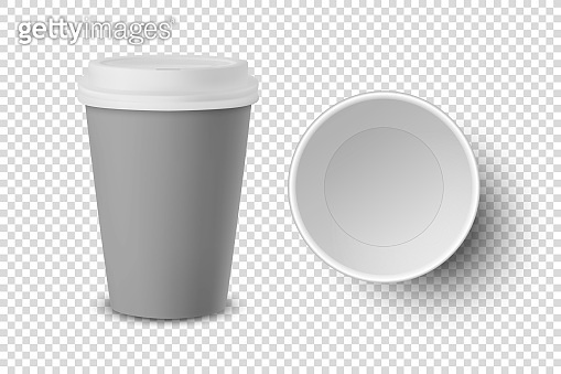 Vector 3d Realistic Empty Gray Disposable Closed and Opened Paper, Plastic Coffee Cup for Drinks with White Lid Set Closeup Isolated. Design Template, Mockup. Top and Front View