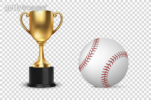 Realistic Vector 3d Golden Champion Cup Icon wirh Baseball Set Isolated on Transparent Background. Design Template of Championship Trophy. Sport Tournament Award, Gold Winner Cup and Victory Concept