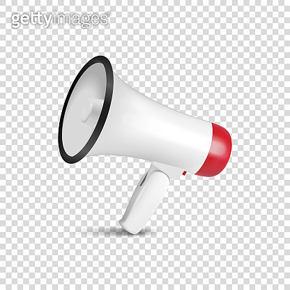 Vector Realistic 3d Simple White Megaphone Icon Closeup Isolated on Transparent Background. Design Template for Banner, Web