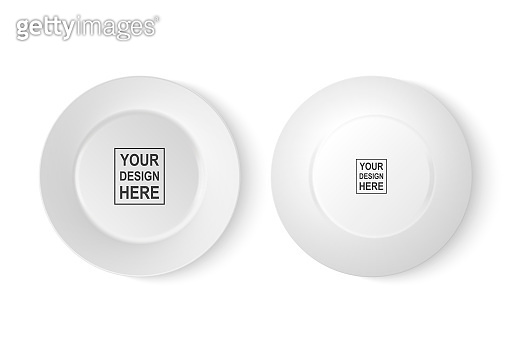 Vector 3d Realistic White Porcelain Food Dish Plate Icon Set Closeup Isolated on White Background. Front and Back View. Design template, Mock up for Graphics, Branding Identity, Printing, etc