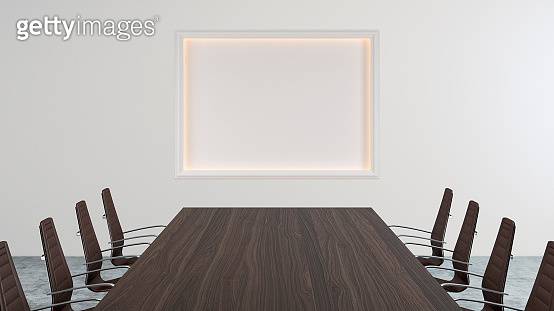 Empty office interior with conference table and illuminated niche  stock photo