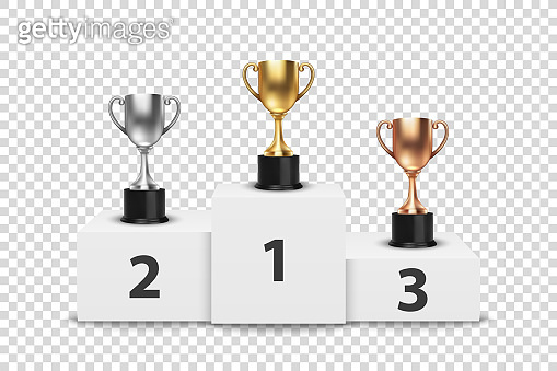 Vector Blank Golden, Silver and Bronze Champion Cup on Winner Podium Isolated on Transparent Background. Design Template of Championship Trophy. Sport Tournament Award, Winner Cup and Victory Concept