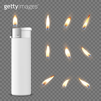 Vector 3d Realistic White Blank Cigarette Lighter Icon Closeup Isolated on Transparent Background with Flame Set. Design Template for Advertising, Mockup, Corporate Identity. Front View