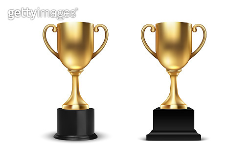 Vector 3d Blank Golden Champion Winner Cup Icon Set Closeup Closeup Isolated on White Background. Design Template of Championship Trophy. Sport Tournament Award, Winner Cup and Victory Concept