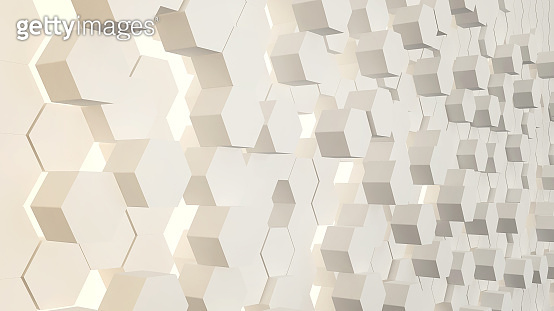 Abstract technological hexagonal background, Futuristic isometric styles, sci-fi inspired colors, 3D patterns  and textures, 3D rendering