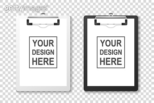 Vector 3d Realistic White and Black Clipboard with Folded Blank Paper and Metal Clip Icon Set Closeup Isolated on Transparent Background. Design Template for Notes, Checklist, Questionnaire, Reminders