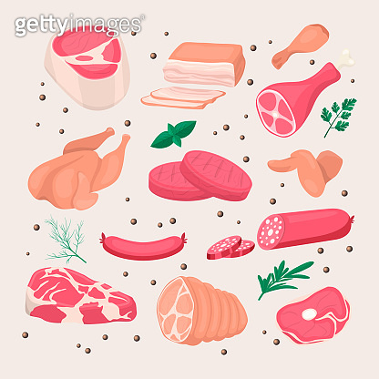 Vector Fresh Pieces of Raw Meat, Chicken, Sausage, Rib Eye, Tenderloin Fillet, Ham, Bacon, Greens Icon Set for BBQ Isolated in Cartoon Style. Food Concept, Design Template for Menu, Meal Shop