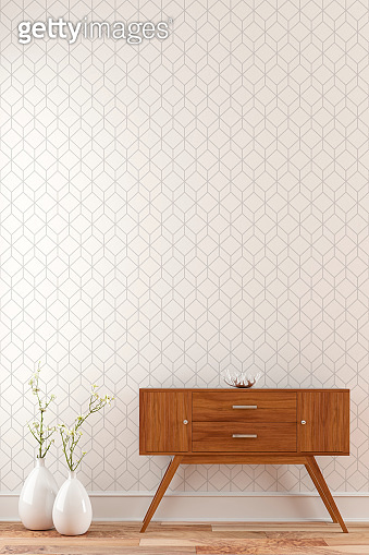 Empty wall background with console table and decoration right