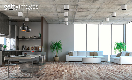 Modern kitchen, dining and living room stock photo
