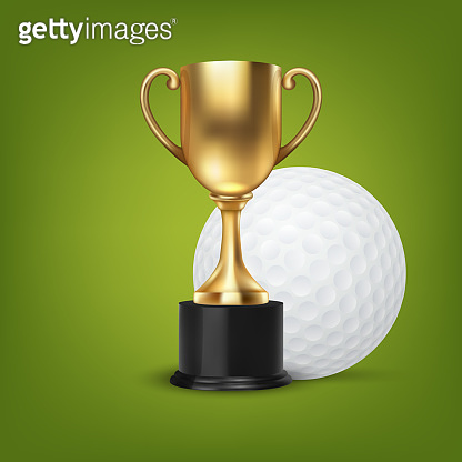 Realistic Vector 3d Blank Golden Champion Cup Icon wirh Golf Ball Set Closeup on Green Background. Design Template of Championship Trophy. Sport Tournament Award, Gold Winner Cup and Victory Concept