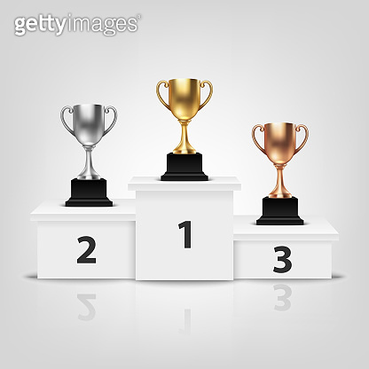 Vector Blank Golden, Silver and Bronze Champion Cup on Winner Podium Isolated on White Background. Design Template of Championship Trophy. Sport Tournament Award, Winner Cup and Victory Concept