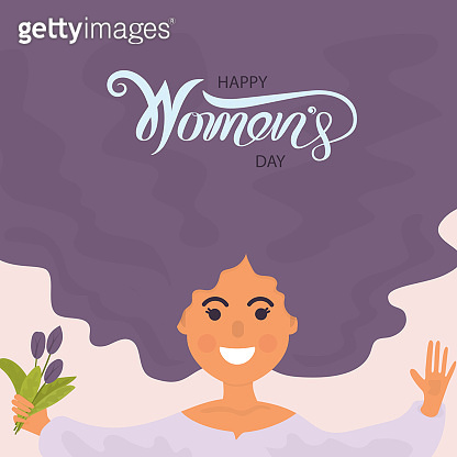 Woman face with long hair.8 March with International Womens Day.Happy women's day design.Flat style design.Element for feminism, womens day concept.Vector illustration