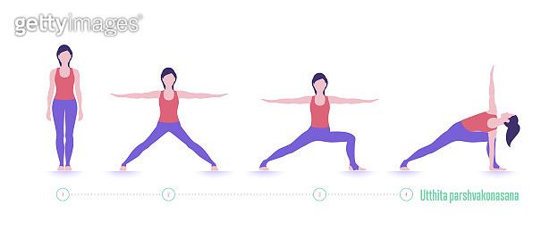 Yoga pose. Utthita parshvakonasana. Exercise step by step