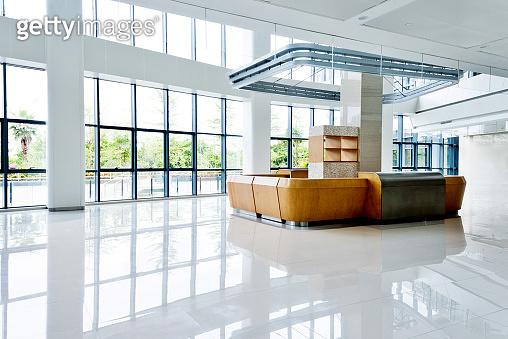 Reception table on hospital lobby