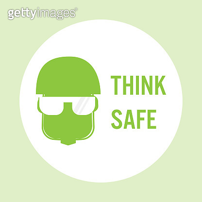 Think safety hard hat. Worker protective helmet. for industry warn protection concept
