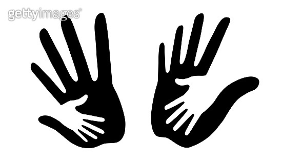 Caring hand logo set. Vector illustration. Helping hand insignia.