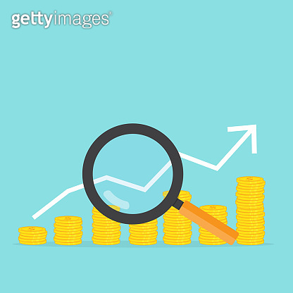 Magnifying glass and finance graph vector business for investment search