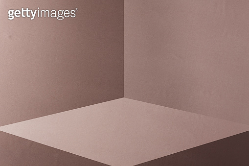 Empty room interior design or beige silk cloth background with blank stand. Blank stand for showing product.
