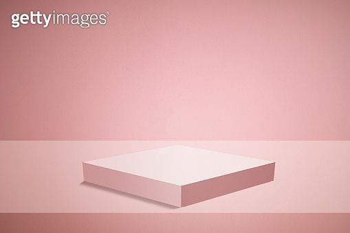 Empty podium or pedestal display on Pink background with box stand concept. Blank product shelf standing backdrop.