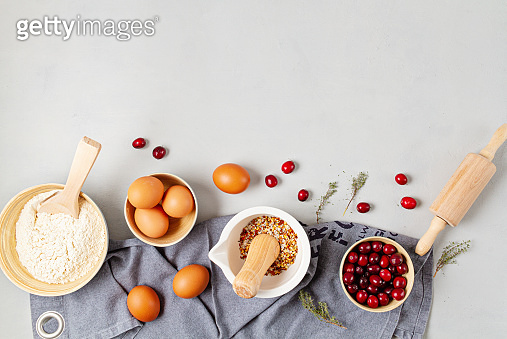 Rustic baking ingredients flat lay. Homemade pastry, baking. Top view flat lay background. Healthy fresh organic food.