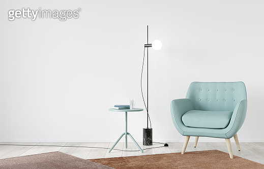 Interior with soft chair mint color and table