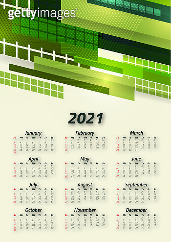 Creative business calendar 2021, 12 months. Bright corporate design, flyer, brochure, advertisement. Vector